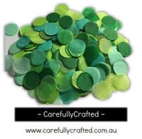1/2 Cup Tissue Paper Confetti - Green Shades - 1 inch Circles  - #CC5