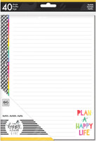 The Happy Planner - Me and My Big Ideas - Classic Refill Note Paper - Full Sheet - Miss Maker - Plan A Happy Life (Lined, Graph)