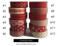 Washi Tape - Red - 15mm x 10 metres - High Quality Masking Tape #1 - #12