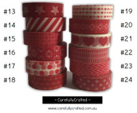 Washi Tape - Red - 15mm x 10 metres - High Quality Masking Tape - #13 - #24