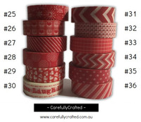 Washi Tape - Red - 15mm x 10 metres - High Quality Masking Tape - #25 - #36