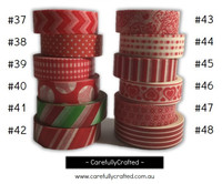 Washi Tape - Red - 15mm x 10 metres - High Quality Masking Tape - #37 - #48