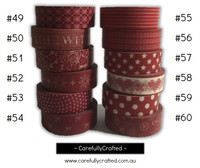 Washi Tape - Red - 15mm x 10 metres - High Quality Masking Tape - #49 - #60