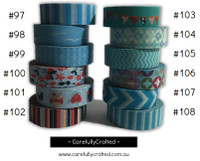 Washi Tape - Blue - 15mm x 10 metres - High Quality Masking Tape - #97 - #108