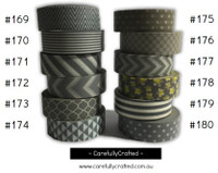 Washi Tape - Grey - 15mm x 10 metres - High Quality Masking Tape - #169 - #180
