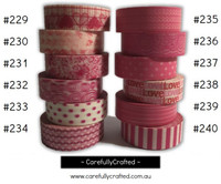 Washi Tape - Pink - 15mm x 10 metres - High Quality Masking Tape - #229 - #240