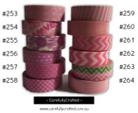 Washi Tape - Pink - 15mm x 10 metres - High Quality Masking Tape - #253 - #264