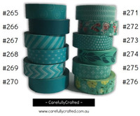 Washi Tape - Aqua - 15mm x 10 metres - High Quality Masking Tape - #265 - #276