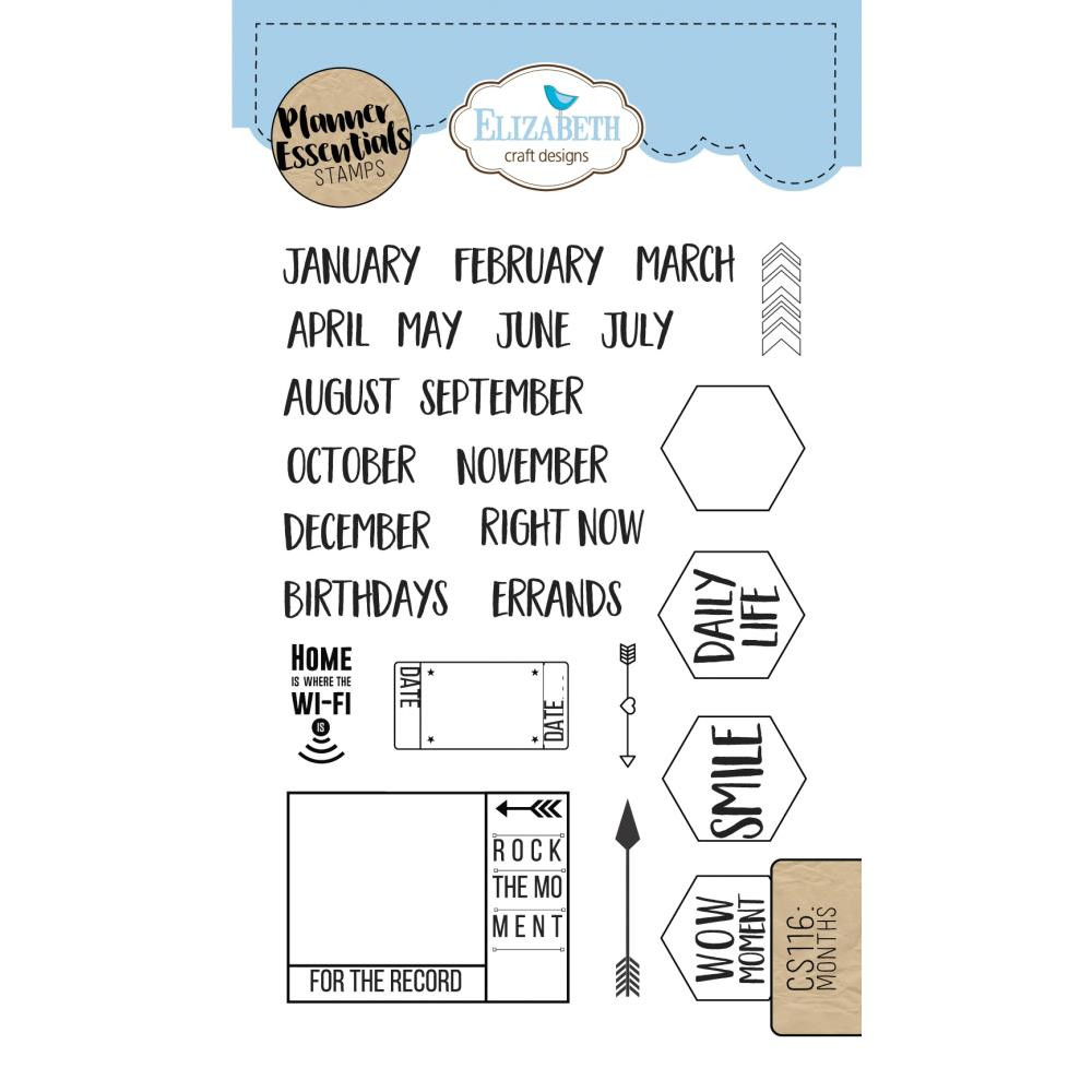 Elizabeth Craft Designs Clear Planner Stamps Months
