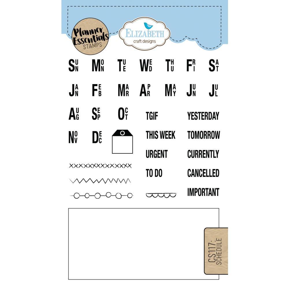 Elizabeth Craft Designs Clear Planner Stamps Schedule