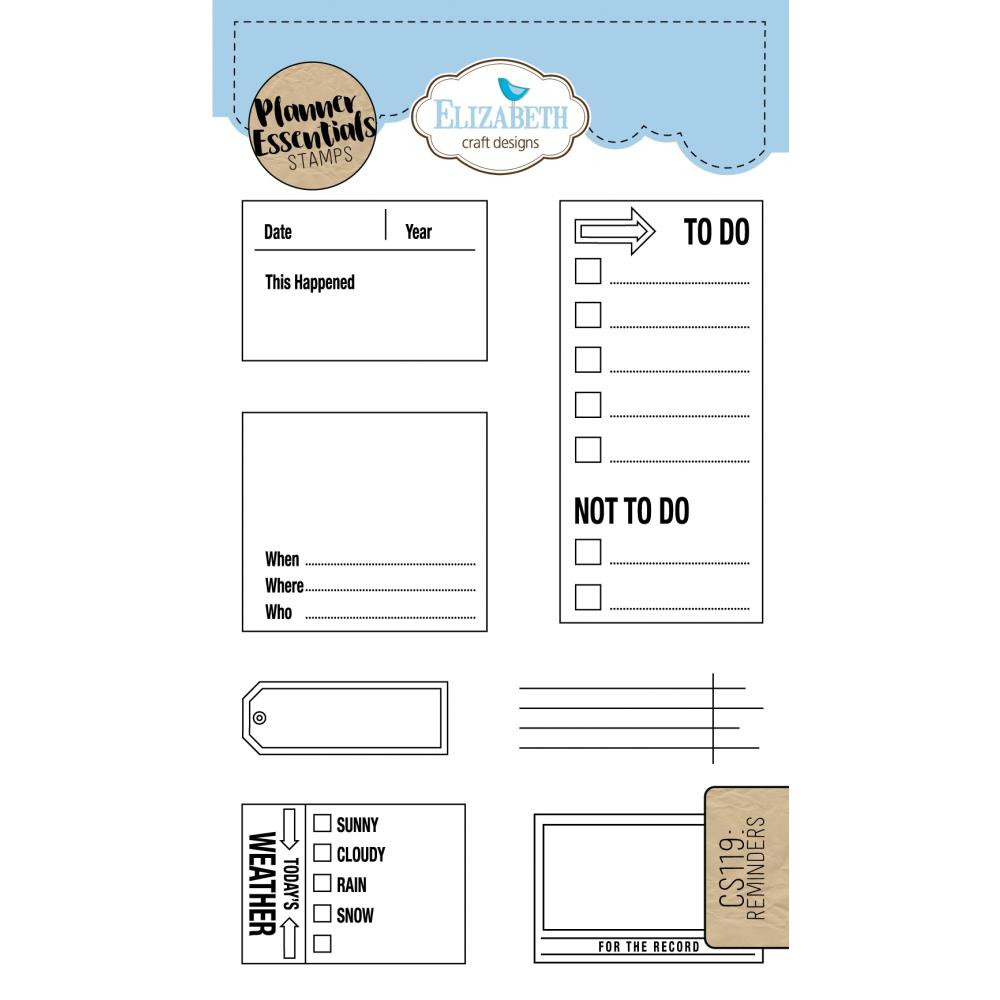 Elizabeth Craft Designs Clear Planner Stamps Reminders
