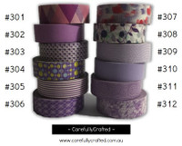 Washi Tape - Purple - 15mm x 10 metres - High Quality Masking Tape - #301 - #312