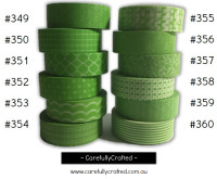 Washi Tape - Green - 15mm x 10 metres - High Quality Masking Tape - #349 - #360