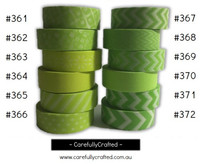 Washi Tape - Green - 15mm x 10 metres - High Quality Masking Tape - #361 - #372