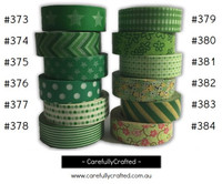 Washi Tape - Green - 15mm x 10 metres - High Quality Masking Tape - #373 - #384