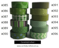 Washi Tape - Green - 15mm x 10 metres - High Quality Masking Tape - #385 - #396