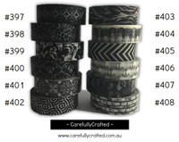 Washi Tape - Black - 15mm x 10 metres - High Quality Masking Tape - #397 - #408