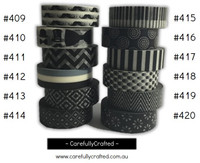 Washi Tape - Black - 15mm x 10 metres - High Quality Masking Tape - #409 - #420