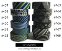 Washi Tape - Black and Blue - 15mm x 10 metres - High Quality Masking Tape - #457 - #468