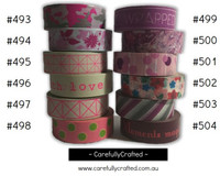 Washi Tape -  Pink and Purple - 15mm x 10 metres - High Quality Masking Tape - #493 - #504