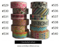 Washi Tape -  Rainbow - 15mm x 10 metres - High Quality Masking Tape - #529 - #540