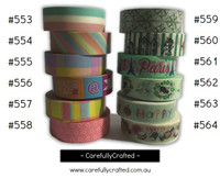 Washi Tape - Rainbow - 15mm x 10 metres - High Quality Masking Tape - #553 - #564