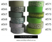 Washi Tape - Green and Grey - 15mm x 10 metres - High Quality Masking Tape - #565 - #576