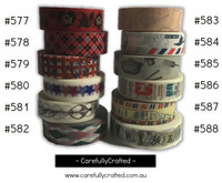 Washi Tape - Rainbow - 15mm x 10 metres - High Quality Masking Tape - #577 - #588
