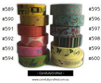 Washi Tape - Rainbow - 15mm x 10 metres - High Quality Masking Tape - #589 - #600