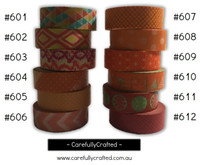 Washi Tape - Orange - 15mm x 10 metres - High Quality Masking Tape - #601 - #612