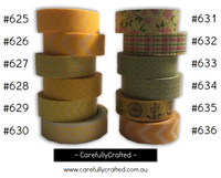 Washi Tape - Yellow - 15mm x 10 metres - High Quality Masking Tape - #625 - #636