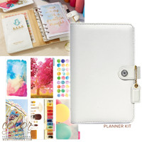 Webster's Pages - Color Crush - Faux Leather Personal Planner Kit - White