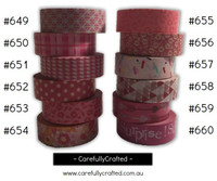 Washi Tape - Pink - 15mm x 10 metres - High Quality Masking Tape - #649 - #660