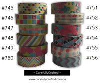 Washi Tape - Rainbow - 15mm x 10 metres - High Quality Masking Tape - #745 - #756