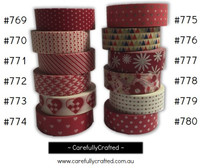 Washi Tape - Red - 15mm x 10 metres - High Quality Masking Tape - #769 - #780