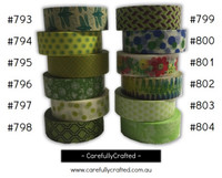 Washi Tape - Green - 15mm x 10 metres - High Quality Masking Tape - #793 - #804
