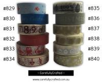 Washi Tape - Christmas - 15mm x 10 metres - High Quality Masking Tape - #829 - #840