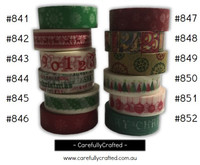 Washi Tape - Christmas - 15mm x 10 metres - High Quality Masking Tape - #841 - #852
