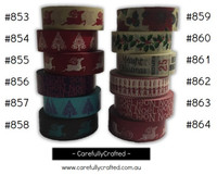 Washi Tape - Christmas - 15mm x 10 metres - High Quality Masking Tape - #853 - #864