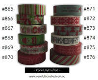 Washi Tape - Christmas - 15mm x 10 metres - High Quality Masking Tape - #865 - #876