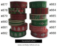 Washi Tape - Christmas - 15mm x 10 metres - High Quality Masking Tape - #877- #888