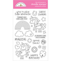 Doodlebug - Clear Doodle Stamps - Rainbows & Unicorns