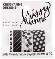 Krissyanne Designs - Kawaii Washi Tape Pack - Black & White