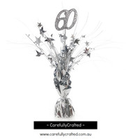 60th Balloon Centrepiece Weight - Silver