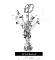 60th Balloon Centrepiece Weight - Silver