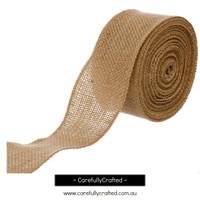Hessian Burlap Natural Jute Roll - Sewn Edge - 5cm x 10 metres