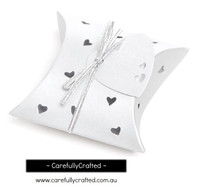 10 Heart Pillow Boxes - Pearl White