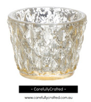 12 Diamond Pattern Glass Tealight Candle Holder - Gold