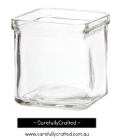 12 Glass Candle Tealight Holders Cube - Clear