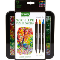 Crayola - Signature Brush & Detail Dual-Tip Markers - Brush & Ultra Fine Tip